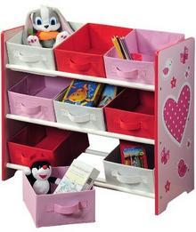 Kesper Kepser 17726 regał dziecięcy na zabawki, z 9 szufladami z tkaniny, wzór: serca 17726