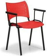 B2B Partner Plastikowe krzesła SMART - czarne nogi z podłokietnikami 150152