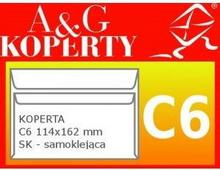A&G Koperta Koperty C6 samoklejące ZPO zwrotne potwierdzenie odbioru białe rozmi