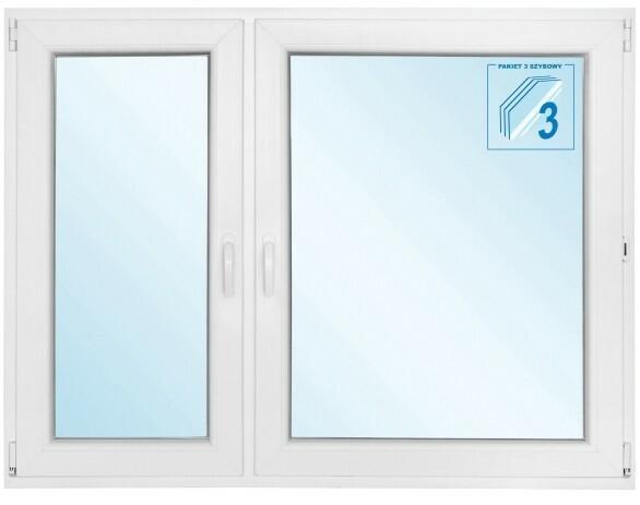 Okno PCV rozwierno - uchylne + rozwierne 1465 x 1135 mm lewe