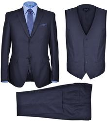 vidaXL Trzyczęściowy garnitur biznesowy męski ROZMIAR: 54 KOLOR: Granat