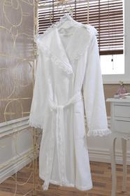 Soft Cotton LUNA damski pluszowy szlafrok z kapturem w pudełku M Biały 4437
