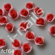 Ceramiczne Ozdoby do paznocki 3D róże podwójnie kolorowe fcf64 (4szt.) czerwono-różowe