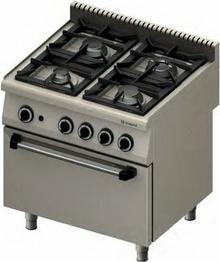 Stalgast Kuchnia gazowa 4-palnikowa z piekarnikiem gazowym GN2/1 - gaz ziemny /