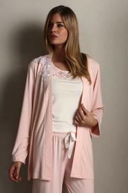 Luisa Moretti Damska bambusowa piżama CARINA ze szlafrokiem XL Łososiowy LM_2011