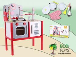 Ecotoys Kuchnia Drewniana Z Wyposażeniem Dla Dzieci 4201