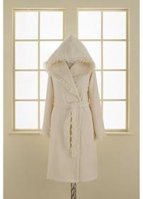 Soft Cotton LUNA damski pluszowy szlafrok z kapturem w pudełku M Śmietankowy 4437