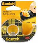 Scotch Taśma klejąca dwustronnie klejąca przezroczysta, na podajniku, 12 mm X 6,