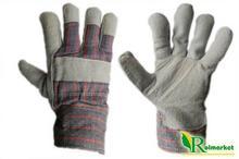 Import Zimowe rękawice robocze skórzane z dwoiny bydlęcej, ocieplane kożuszkiem