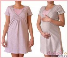 Dolce Sonno Koszula nocna ciążowa i do karmienia - Melanż-Róż kr. rękaw