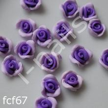 Ceramiczne Ozdoby do paznocki 3D róże podwójnie kolorowe fcf67 (4szt.) fiolet II