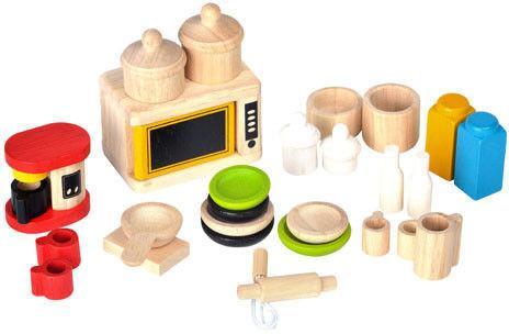 Plan Toys Drewniane mebelki dla lalek - meble Dodatki i naczynia do kuchni, PLTO