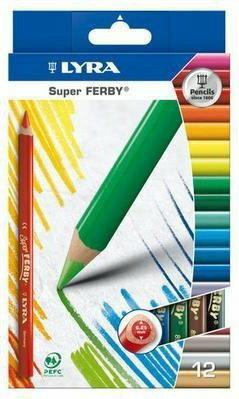 Lyra Kredki ołówkowe trójkątne, grube Super FERBY 12 kolorów 3721120