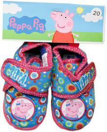 Świnka Peppa PIGGY PEPPA Kapcie na rzep dla dziewczynki Niebieski