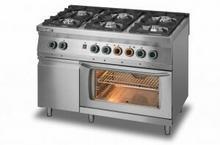 Lozamet Kuchnia gazowa 6-palnikowa z piekarnikiem elektrycznym z termoobiegiem GN1/1 i szafką L700.KG6 PET+SD