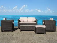 Beliani Rattanowe meble ogrodowe sofa fotel stól fotele 5 czesci komplet MILANO