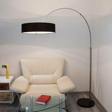 Lampenwelt Materiałowa lampa stojąca SHING z Czarnym abażurem