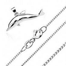 Biżuteria e-shop Naszyjnik ze srebra 925 - duży skaczący delfin, łańcuszek z drobnych skręconych ogniw