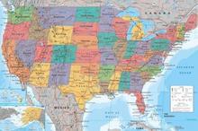 Stany Zjednoczone Mapa - Plakat