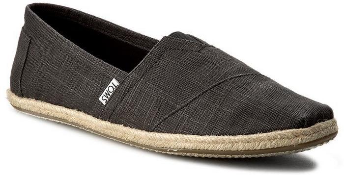 Toms Espadryle Classic 10008356 Black Linen Rope Sole materiał/-materiał