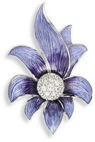 Nicole Barr (UK) Srebrna broszka - fioletowy kwiat z białymi szafirami, srebro 9
