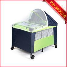 FUN BABY Kojec dla dzieci, łóżeczko z daszkiem-zielone. Moskitiera GRATIS!
