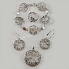 Bransoletka, kolczyki, wisiorek i pierścionek - biżuteria SREBRNA (GO28 GO81 GO2