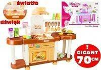 Lean Toys Kuchnia dla małej gosposi 70cm brąz róż światło