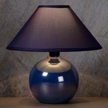 Lucide Niebieska lampa stołowa FARO z ceramiczną podstawą