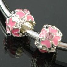 Przekładka modułowa z kolorową emalią - pan213 kwiatuszek z cyrkonią róż