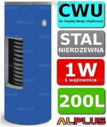 CHEŁCHOWSKI 200L 1-Wężownica Nierdzewka, 1W Zbiornik Zasobnik Wymiennik Bojler,