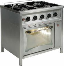 Egaz Trzon gastronomiczny gazowy 4-palnikowy z piekarnikiem gazowym, 900x700x850
