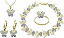 Galaxy Gold Products , Inc 2632 Komplet biżuterii z opali i tanzanitów