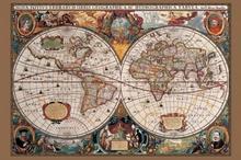 Mapa świata (XVII wiek) - plakat