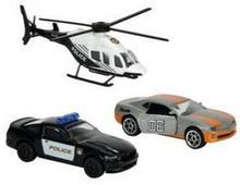 Majorette Policja Pojazdy Pościg policyjny z czarno-białym helikopterem 21 205 7300_CZ