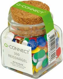 Q-CONNECT Pinezki klasyczne , w szklanym słoiku, mix kolorów KF03649