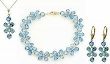 Galaxy Gold Products , Inc 1744 Komplet biżuterii z niebieskich topazów