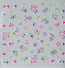 Ozdoby do paznocki biało-kolorowe fiolet+róż+zieleń 3D D-133