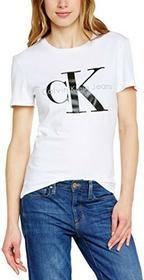 Calvin Klein T-shirt Jeans SHRUNKEN TEE TRUE ICON dla kobiet, kolor: biały, rozmiar: Small B00NLBDGHO