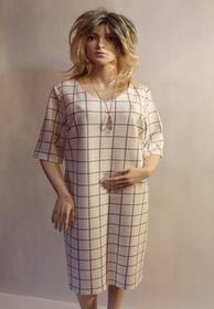 MaximoModa Elegancka sukienka biała w szarą kratkę XXL RO0030