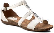 Clarks Sandały Autumn Fresh 261259094 White Combi Leather materiał/-materiał, skóra naturalna/licowa