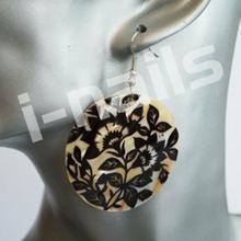 Kolczyki MASA PERŁOWA - kol13 koła kwiaty czarne