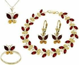 Galaxy Gold Products , Inc 2626 Komplet biżuterii z granatami i cytrynami