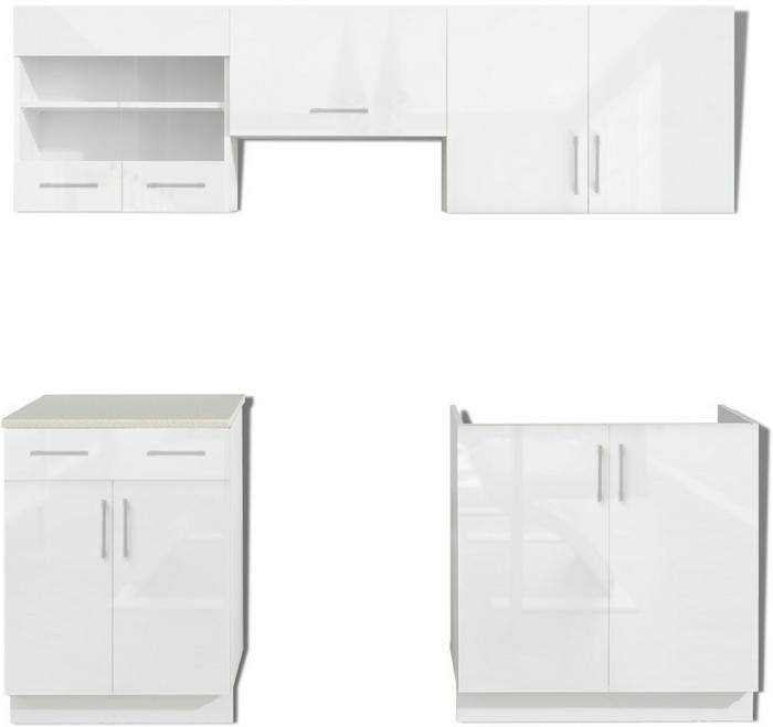 vidaXL Meble kuchenne białe na wysoki połysk 5 elementów (200 cm)