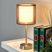 Lampenwelt Lampka nocna Nica z brązowym materiałowym abażurem