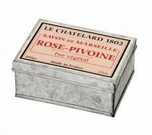 Le Chatelard 1802 Mydło w kostce marsylskie 100g RÓŻA-PIWONIA w puszce