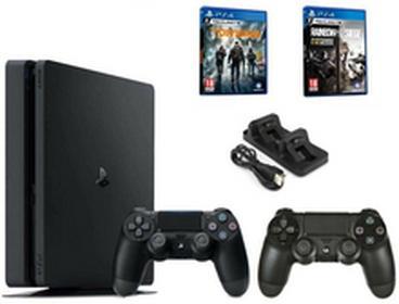 SonyPlayStation 4 Slim 500GB Czarny + Tom Clancys The Division + Tom Clancy Rainbow Siege + Kontroler DualShock 4 + Akcesoria