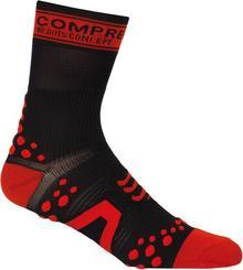Compressport Skarpetki rowerowe Pro Racing V2 Czarne z czerwonymi kropkami