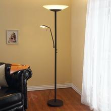 Lampenwelt Lampa stojąca LED Ragna z lampką do czyt., rdzawa