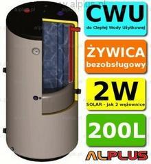 Solar Ermet 200l pionowy bojler dwupłaszczowy, wymiennik zbiornik ogrzewacz CWU